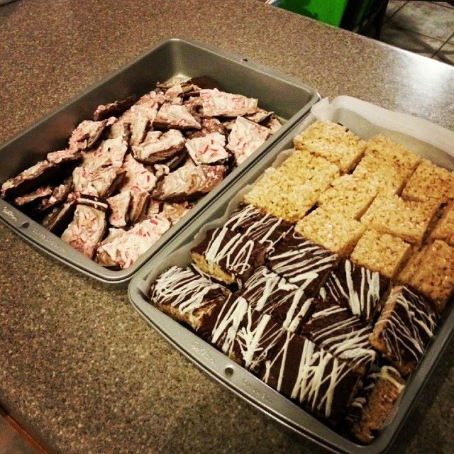Peppermint Bark, Rice Crispy Treats (regular and chocolate dipped)